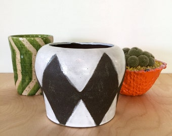 brown and white diamond pattern handmade ceramic planter pot for cactus and succulent plants