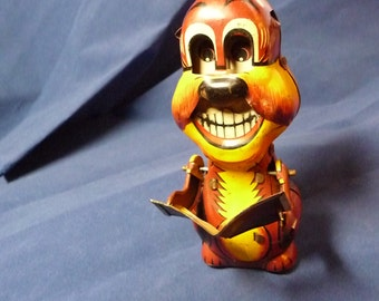Trade Mark Mikuni Made in Japan Wind up Tin Toy Dog Reading a Book