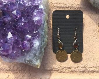 Amber Copper Penny Earrings