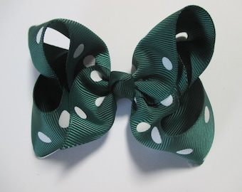 Baby/Toddler/Girl/Adult 4 Inch Boutique Hair Bows on Lined Alligator Clip - Hunter with White Spots