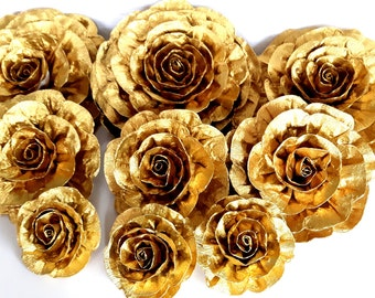 12 Gold large giant paper flowers kate bridal spade shower baby decor CENTERPIECE Photo backdrop Wedding flowers birthday Nursery Wall arch