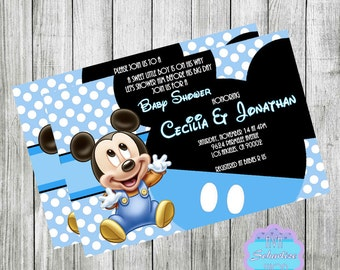 baby mickey invite  etsy, Baby shower invitations