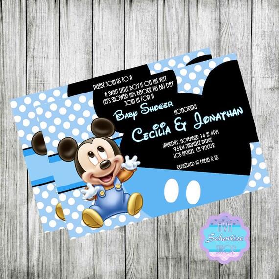 baby mickey mouse invitation baby shower invitation baby mickey