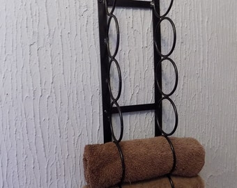 Wrought Iron (Forged Steel) Custom Made Towel Storage Holder...Hollow Wall Friendly!