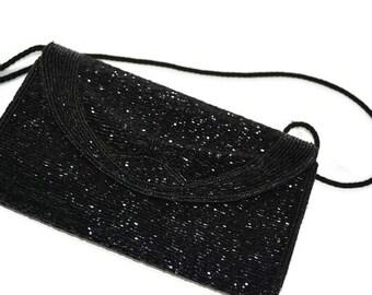 Evening Bag,Black Beaded, Bechamel Handbag, Black Prom Purse, Handbag,Classic Bag, Purse, New Year's Eve Bag,  Purse, Puttin' on the Ritz
