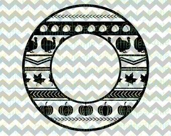 Thanksgiving Monogram Circle, Thanksgiving, Turkey, Pumpkin, Fall, .SVG/.PNG/.EPS File for Every Vinyl Cutting Machine