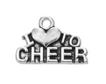 10 pcs I love to Cheer Charms - Pandora bracelet charm - Cute Charms - Jewelry supply- Antique silver