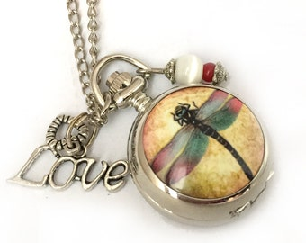 pocket watch necklace romantic love and dragonfly