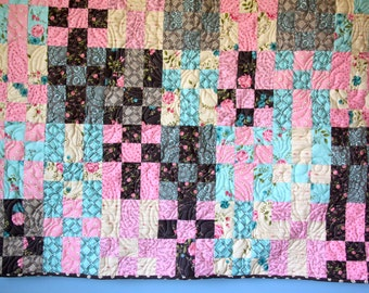 Patchwork Baby Quilt, Wall hanging, Feminine Quilt,  Pink Brown Turquoise Fabric, Flower Fabric, Baby Shoer Gift, Handmade, Cottage Decor