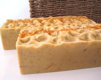 Organic Calendula Soap Loaf, Organic Soap Loaf, Vegan Soap log, sensitive Skin Soap, organic calendula soap, vegan soap log. palm free soap