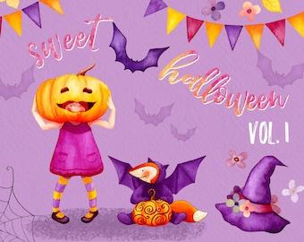 Fall clipart, Halloween clipart, Autumn clipart, fall leaves clipart, Kids clipart, card templates, watercolor pumpkin, watercolor clip art