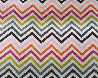 Fabric By the Yard Emma & Mila Hot Coco Zigzag Multicolor Cotton Fabric
