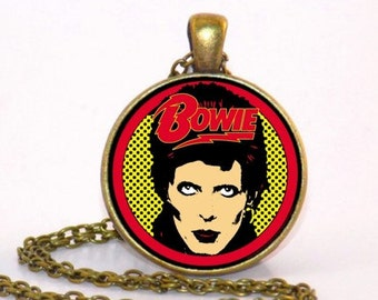 Bowie inspired tribute Bronze style Pendant Necklace or Keyring