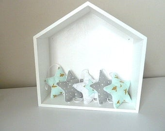 Wreath of stars in grey gold mint sky blue fabric