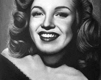Marilyn Monroe Original Fine Art Pencil Drawing