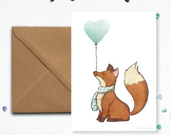 """Fox"" and his balloon heart - envelope kraft card"