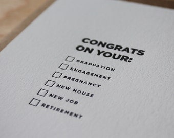 Congrats on your... Letterpress Flat Fill-It-Yourself Greeting Card / Congratulations Card