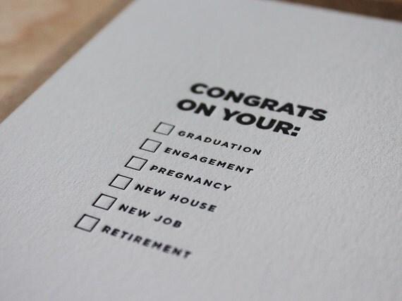 Congrats on your... Letterpress Flat DIY Congratulations Card / Greeting Card