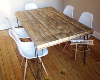 Rustic Dining Table with Reclaimed Timber Top and Vintage Hairpin Legs