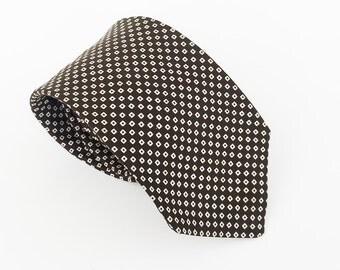 Brooks Brothers tie: high end tie, men's designer tie, luxury men's tie, best designer tie in brown silk with tiny squares
