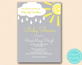 You are my sunshine baby shower invitation, Sunshine Birthday, Personalized Invitations, Bridal Shower invite, YOU PRINT INVITATION tlc112