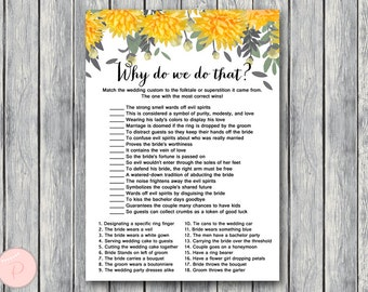 Yellow Why do we do that Bridal Shower Game, Wedding Tradition Quiz , Bridal shower game, Bridal shower activity, Printable Game TH29