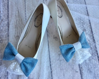 Bridal shoe clips, shoe decoration , Something blue, Harris Tweed and Lace wedding shoes bows, Shoe clips