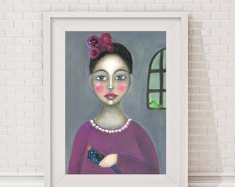 """Whimsical print of an original oilpainting reproduction, painting, drawing, illustration bird life female portrait """"The girl with the bird"""""""