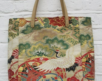 Large Tote - bag made from vintage silk kimono and obi fabric in Cream, red, gold, green and black.