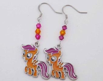 My Little Pony Scootaloo Swarovski crystal earrings pony MLP cosplay jewelry