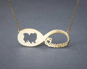 14k Solid Gold Personalised INFINITY LONGHAIRED PEKINGESE Necklace - 14k Gold Pekingese Necklace - Name Necklace