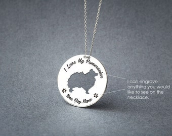 Personalised DISK POMERANIAN Necklace / Circle dog breed Necklace / Pomeranian Dog necklace/ Silver, Gold Plated or Rose Plated.