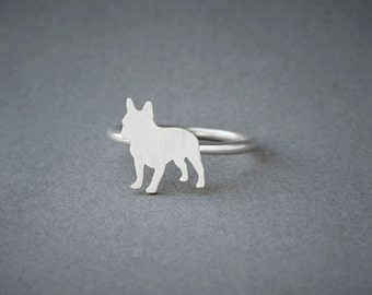 FRENCH BULLDOG RING / French Bulldog Ring / Silver Dog Ring / Dog Breed Ring / Silver, Gold Plated or Rose Plated.
