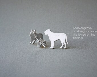 MASTIFF NAME Earring - English Mastiff Name Earrings - Personalised Earrings - Dog Breed Earrings - Dog Earring
