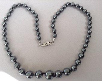 Graduated Hematite Bead Necklace