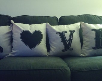 LOVE Pillow Case set,  living room decor, pillow case, wedding gift, bedroom pillows