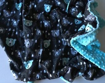 Blanket, baby blanket, Minky, cotton, bear, bear