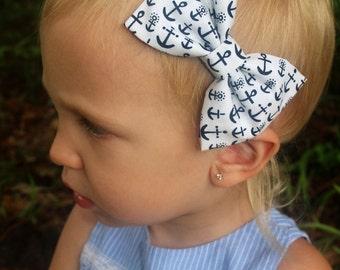 anchor bow headband baby/toddler/girls