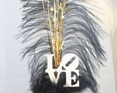Wedding Cake Topper LOVE Gatsby black and gold feather