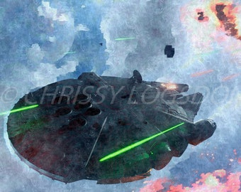 Star Wars Millenium Falcon 11 x 14 Watercolor Poster Wall Art Print Photo