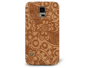 Laser Engraved Floral Hand Drawn Leafy Plumeria Zentangle Inspired on Genuine Wood phone Case for Galaxy S5, S6 and S6 Edge S-047