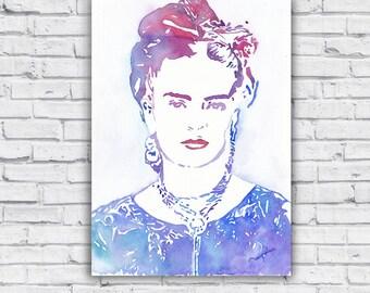 FRIDA KAHLO Illustration inspired by silhouette of Frida. Colorful Frida Kahlo, original watercolor, Wall art living-room, bedroom pop art