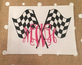 Checkered Flag Monogram Decal