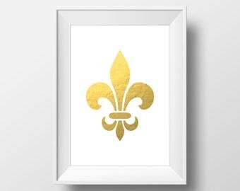 Fleur De Lis Gold Foil Printable Art, Fleur De Lis Print, Fleur De Lis Art, Fleur De Lis Wall Art, French Wall Art, French Decor