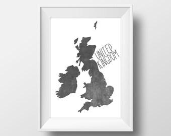 United Kingdom Black Chalkboard Printable Art, United Kingdom Print, United Kingdom Art, Modern Art,