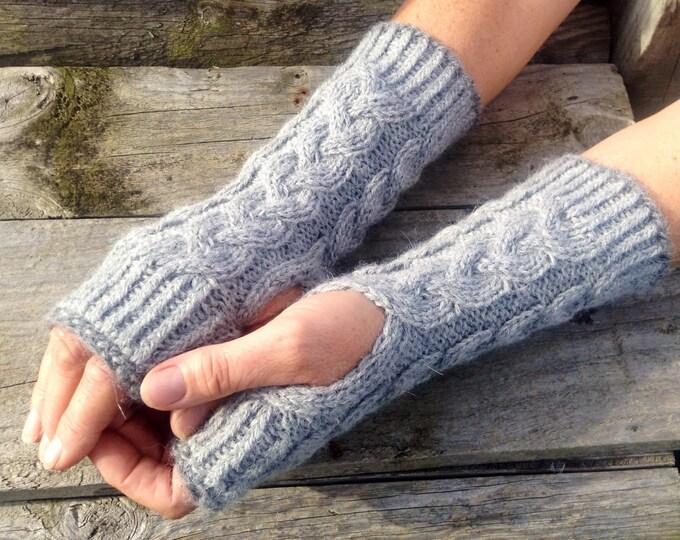 Ladies luxury pure alpaca dark gray cable mitten gloves by Willow Luxury ( one size)