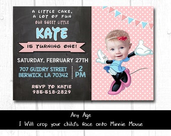 Minnie Mouse Inspired Invitation, Minnie 1st birthday invitation, First Birthday Invitation Minnie, 1st Birthday invitation Minnie Mouse