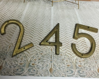 Vintage numbers, Brass Numbers, metal numbers, door numbers, supplies Numbers, brass metal numbers