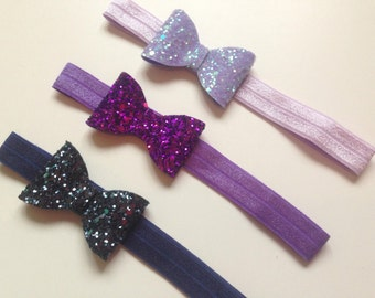 Baby / Toddler Soft Elastic Headband with Glitter Bow