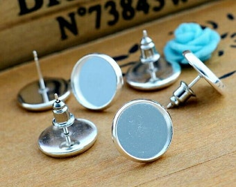 10pcs+ 12mm High Quality Silver Plated Bezel Stud Earring Cabochon Settings With Metal Backings Ear Nuts Cabochons Earrings DIY Jewelry